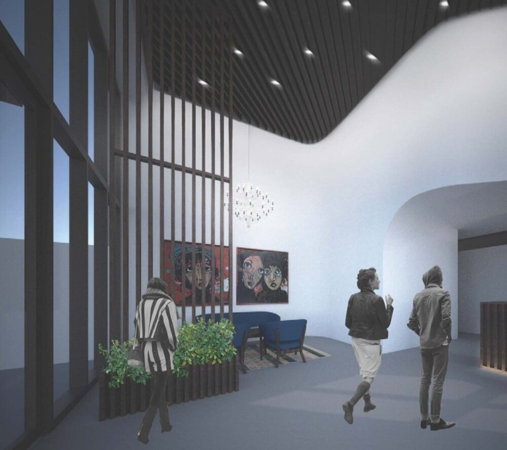 Rendering of Residential lobby at 429 Tompkins Street - Issac & Stern Architects