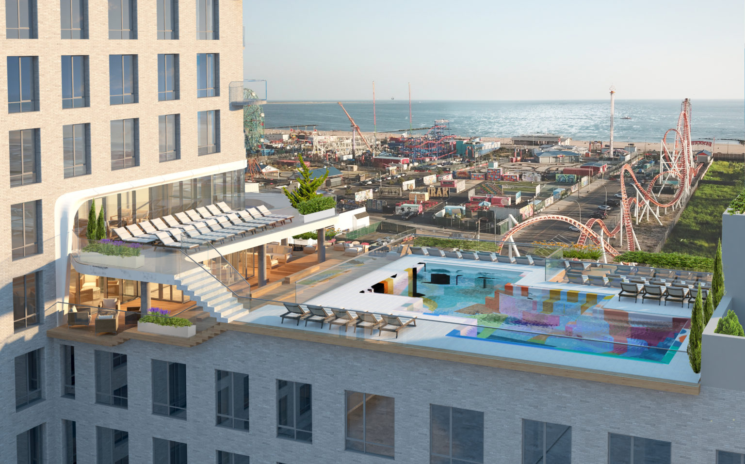 Rendering of dual-level pool deck at 1515 Surf Avenue - LCOR