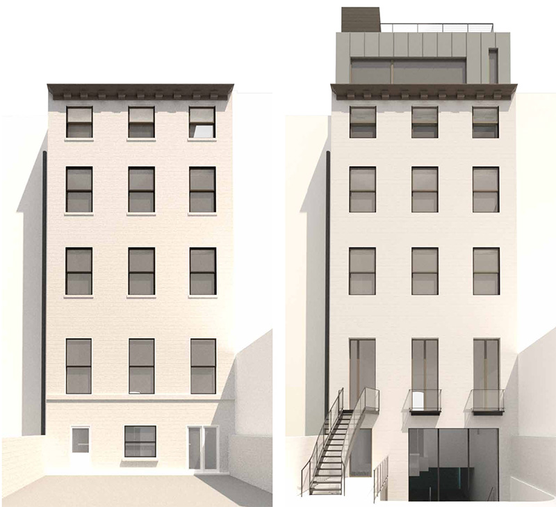 Rendering of existing (left) and forthcoming (right) alterations to the rear elevation of 238 East 15th Street - Architects h2n
