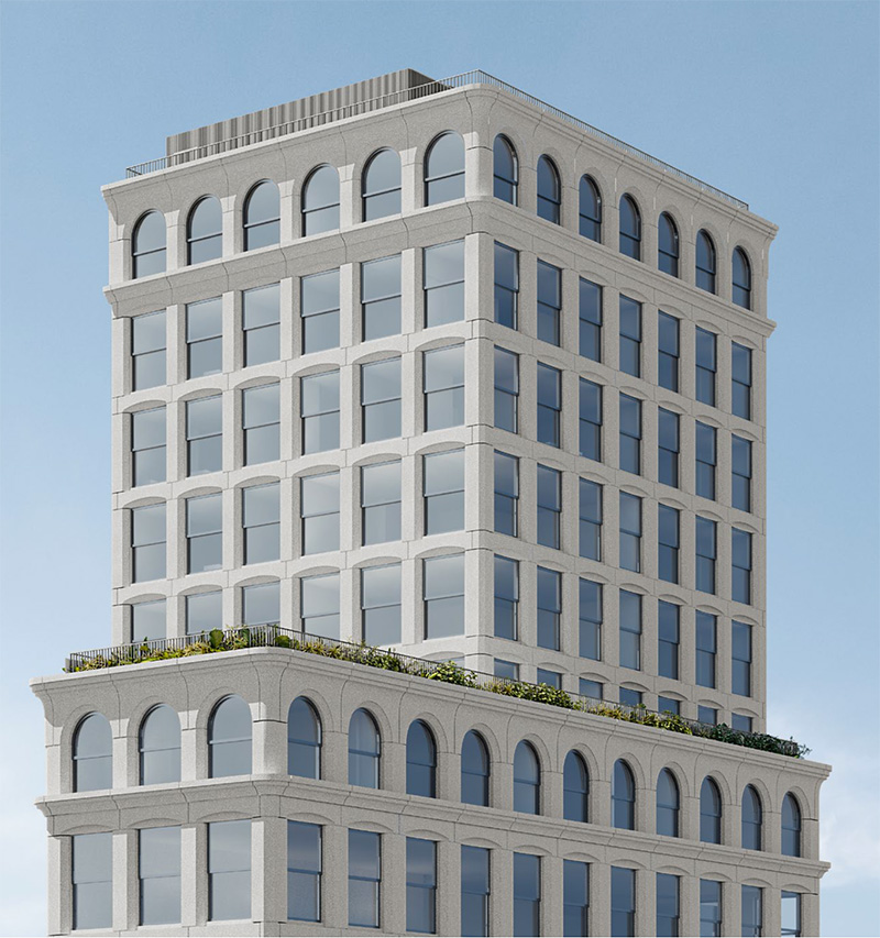 Rendering of facade details at the tier three of the new residential volume at 315-317 Broadway - Morris Adjmi Architects