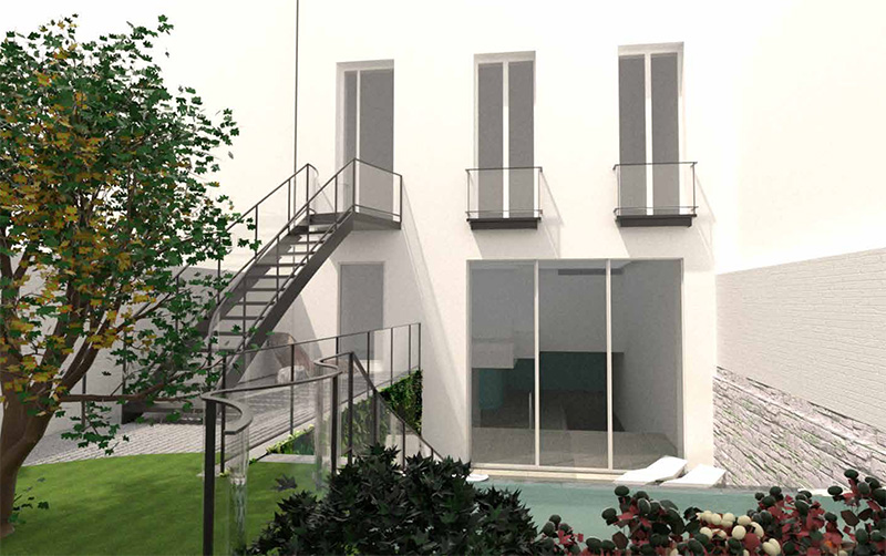 Rendering of rear elevation at 238 East 15th Street - Architects h2n