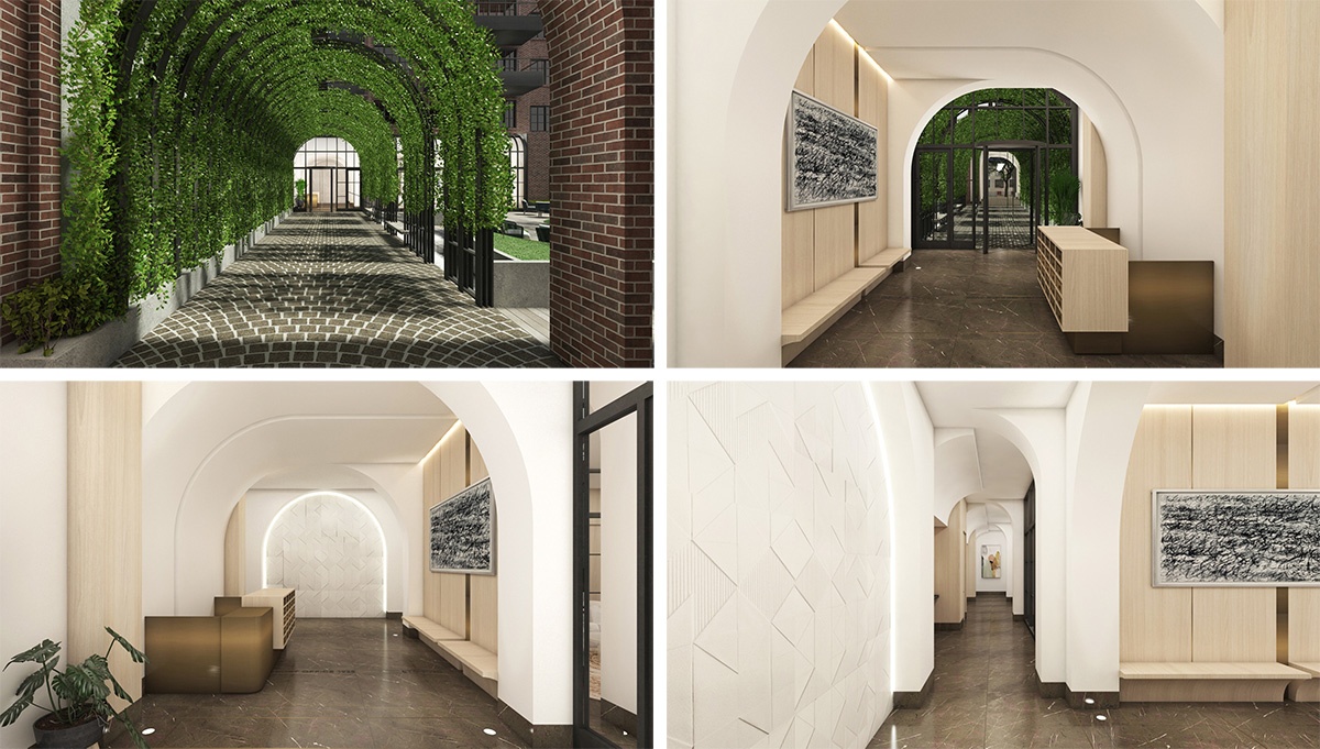 Rendering of residential lobby at 542 Atlantic Avenue - Issac & Stern Architects