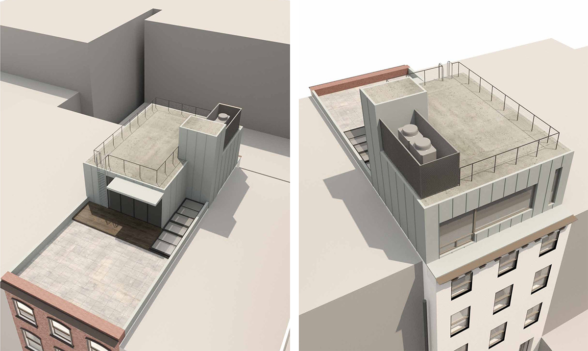 Rendering of rooftop addition at 238 East 15th Street - Architects h2n