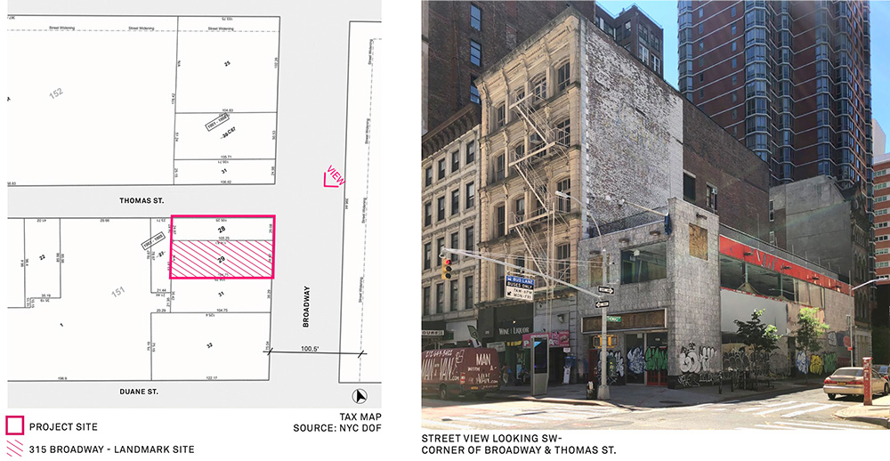 Site map (left) and existing conditions (right) at 315-317 Broadway - Morris Adjmi Architects