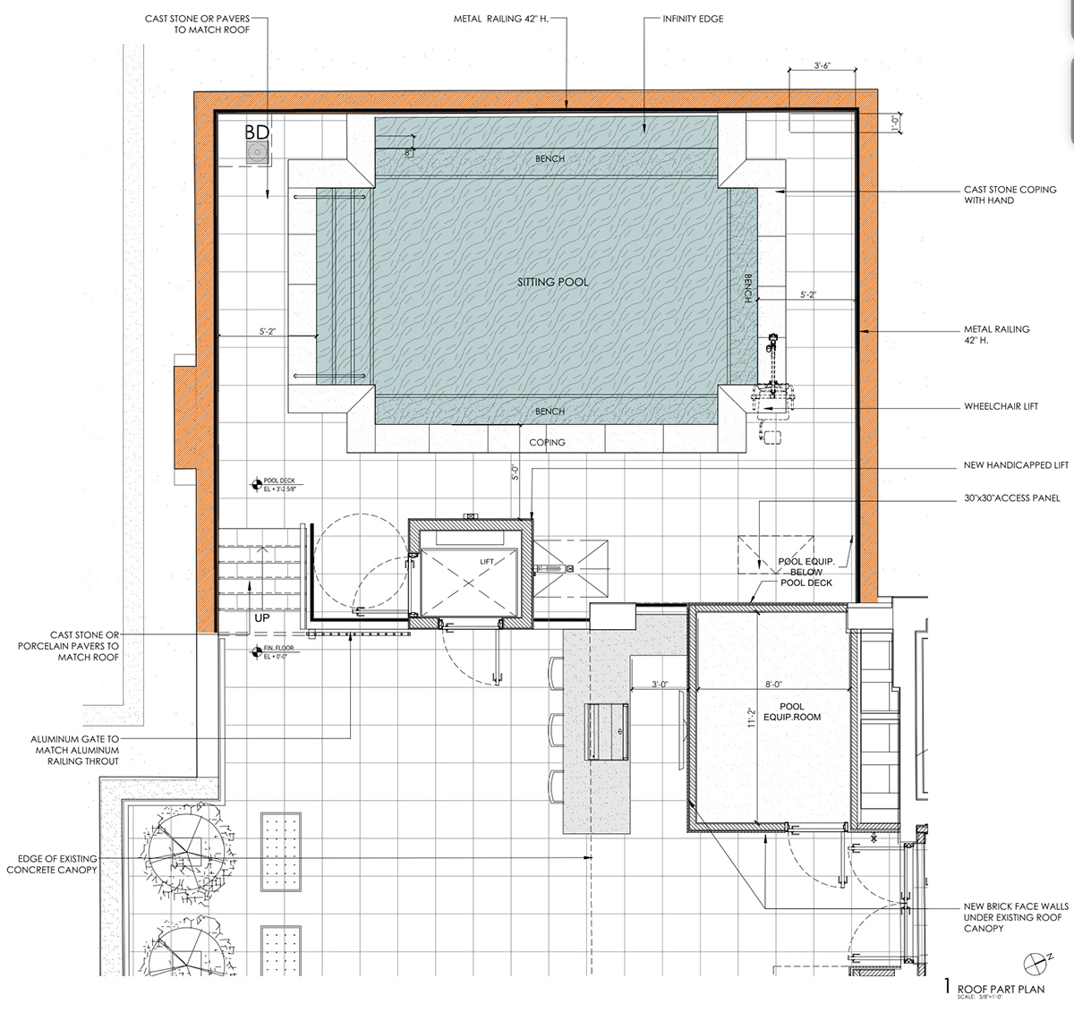 Proposed rooftop floor plan at 124 Columbia Heights - HS2 Architecture