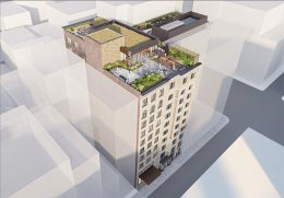 Aerial Rendering of proposed alterations and rooftop pavilion at 122 Fifth Avenue - Studios Architecture