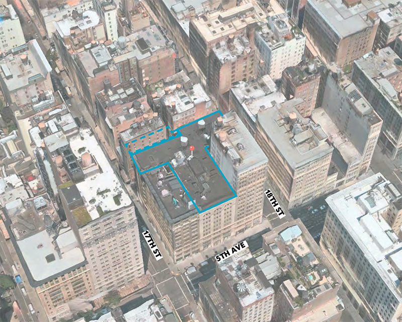 Aerial view of existing conditions at 122 Fifth Avenue - Studios Architecture