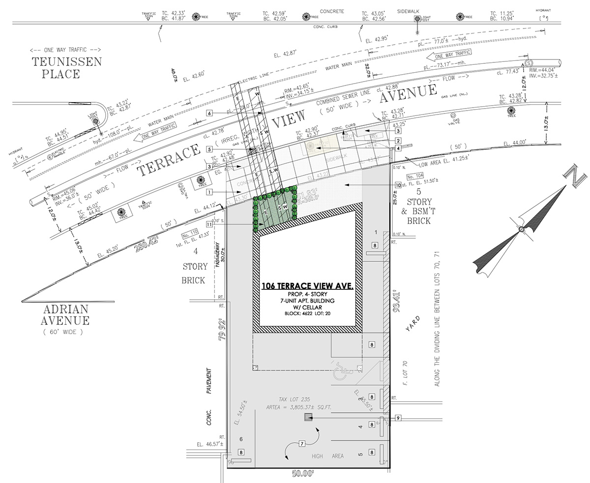 Aerial view of site plan for 106-108 Terrace View Avenue - Badaly Engineering