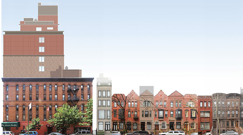 Existing elevations with rendering of 110 West 88th Street - DXA Studio