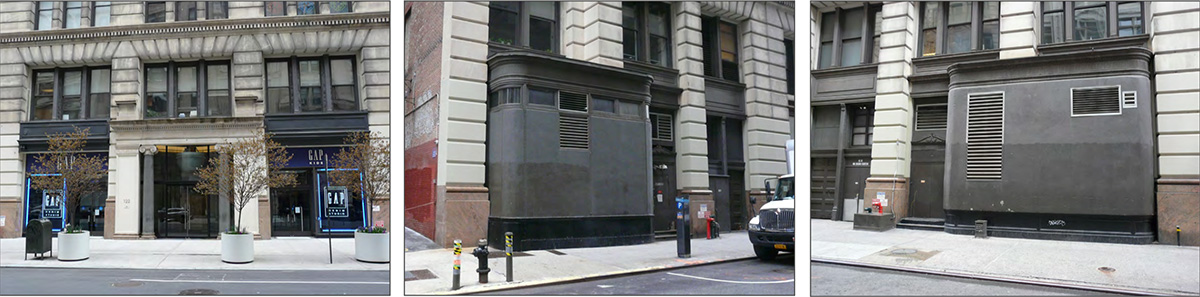 [From left to right] Existing storefronts at Fifth Avenue, 17th Street and 18th Street – Studios Architecture