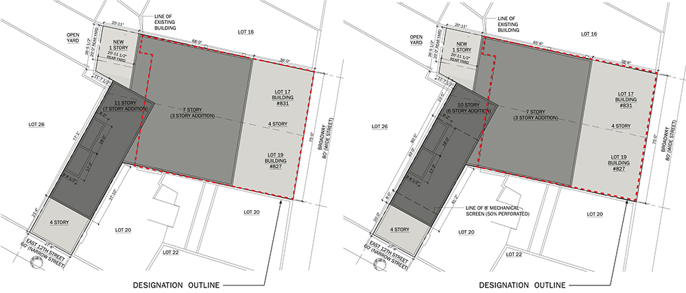 [From left to right] Previously presented site plan and revised design with landmark designated areas of 827-831 Broadway boxed in red – DXA Studio