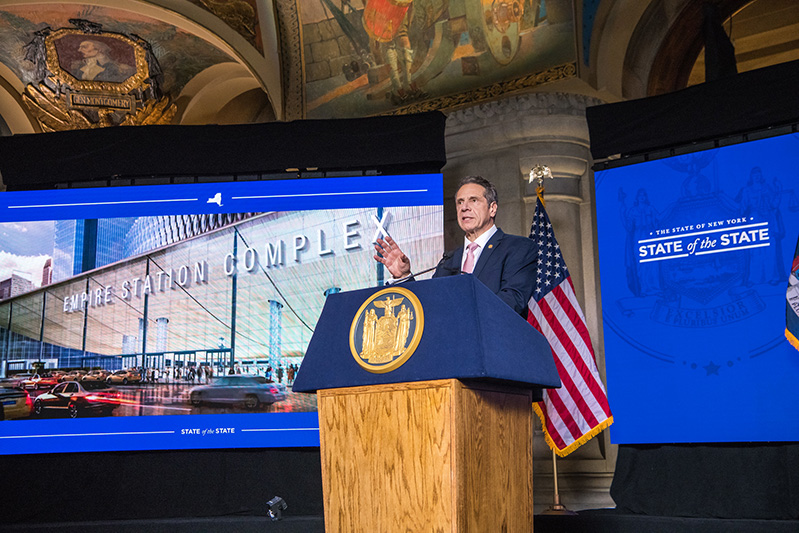 Governor Andrew M. Cuomo delivers day four of his 2021 State of the State Address in the War Room at the state Capitol - Photo by Darren McGee- Office of Governor Andrew M. Cuomo