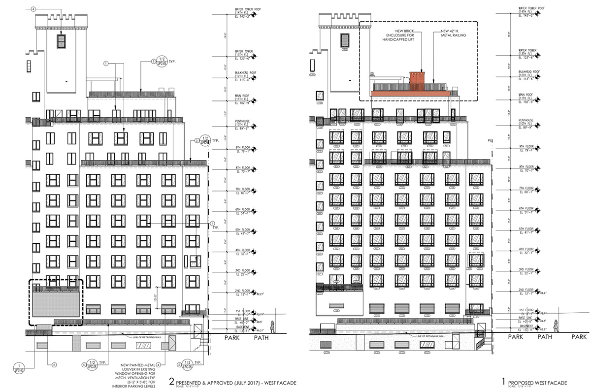 Ilustration of existing conditions (left) and proposed changes (right) at 124 Columbia Heights - HS2 Architecture
