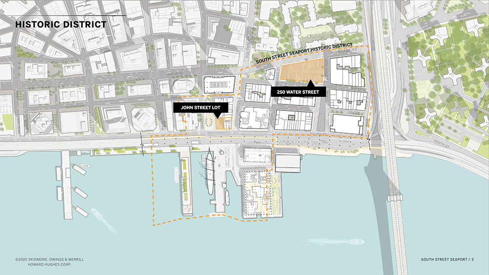 Map illustrates existing site conditions at South Street Seaport Historic District - Skidmore, Owings & Merrill (SOM); Howard Hughes Corporation