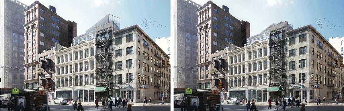 Previous (left) and revised renderings of 827-831 Broadway - DXA Studio