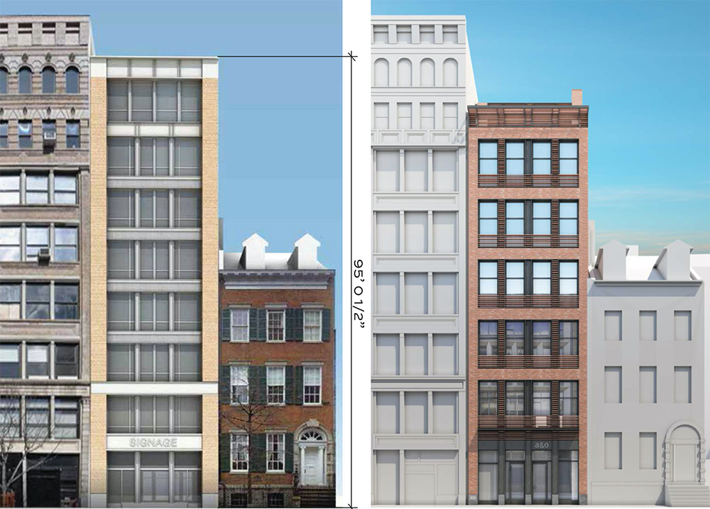 Previous rendering (left) and updated rendering (right) of 27 East 4th Street - BKSK Architects