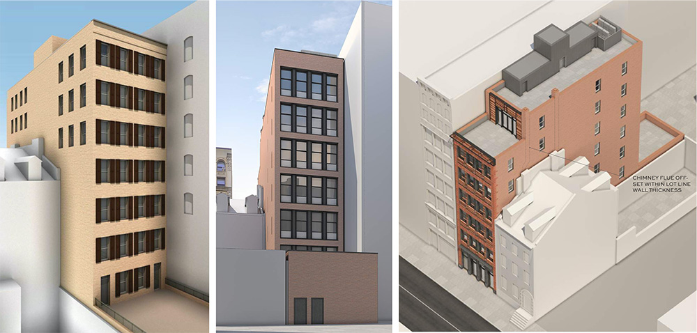Previous rendering (left) updated rendering of rear building elevation (middle), and updated aerial rendering (right) of 27 East 4th Street - BKSK Architects