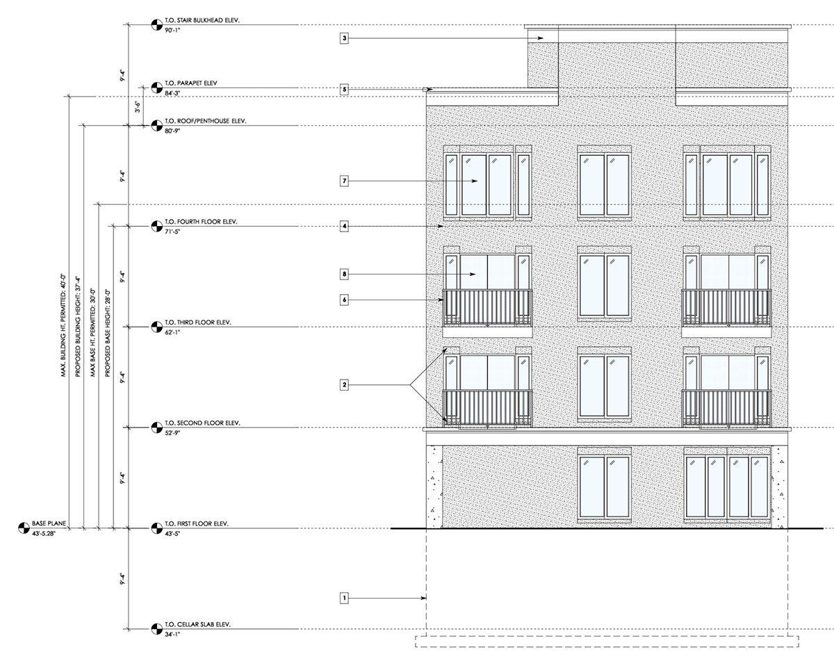 Rear Elevation at 106-108 Terrace View Avenue - Badaly Engineering