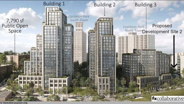 Rendering of the River North Development, Development Site 2 sold by Compass shown far right' - FXCollaborative