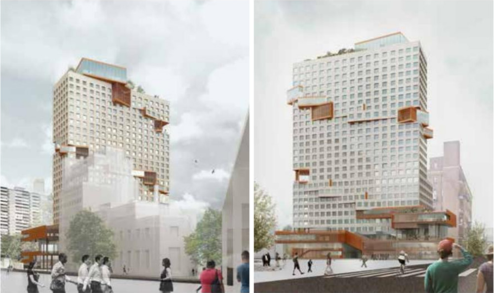 Rendering illustrates 555 Broadway; view from Broadway (left) and view from Boerum Street (right) - ODA Architecture