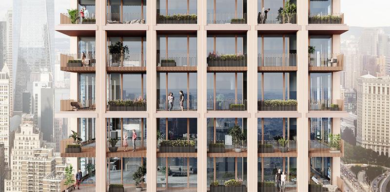 Rendering illustrates residential balconies at 250 Water Street - Skidmore, Owings & Merrill; Howard Hughes Corporation