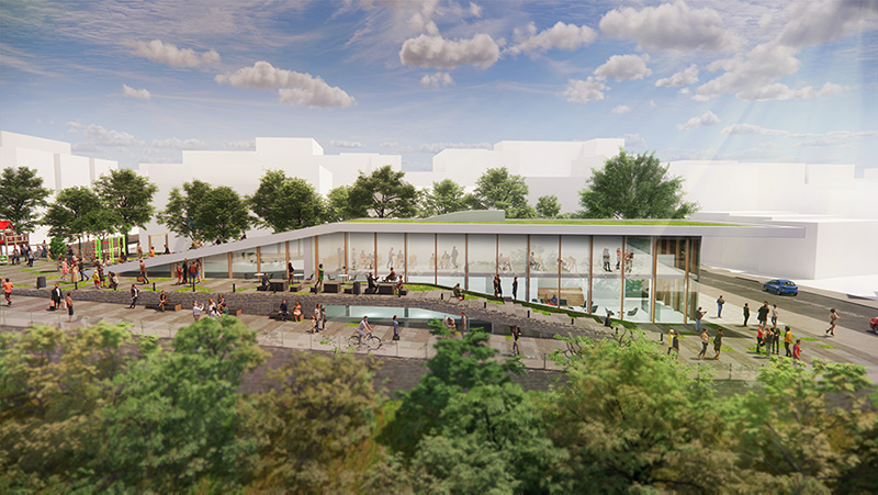 Rendering of Community Center and surrounding grounds at 500 Summit Avenue - HAP Investments; CetraRuddy Architecture