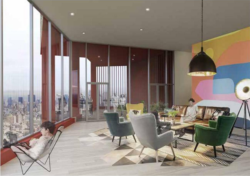 Rendering of lounge area within 555 Broadway - ODA Architecture