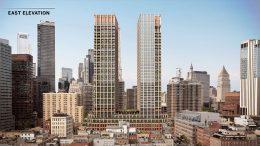 Rendering of new residential towers at 250 Water Street - Skidmore, Owings & Merrill (SOM); Howard Hughes Corporation