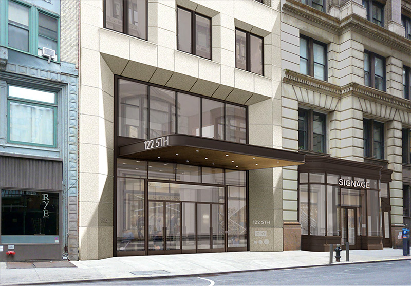 Rendering of proposed commercial marquee and retail storefronts along fifth avenue at 122 Fifth Avenue - Studios Architecture