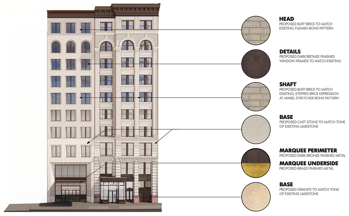 Rendering of proposed new facade materials at 122 Fifth Avenue - Studios Architecture