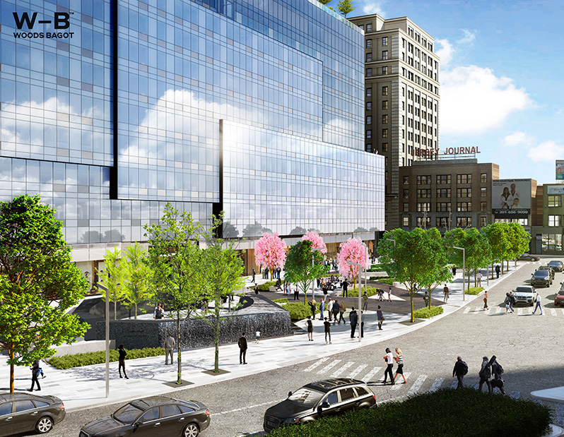 Rendering of public plaza at One Journal Square - Woods Bagot