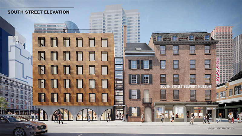 Rendering of the new South Street Seaport museum building - Skidmore, Owings & Merrill (SOM); Howard Hughes Corporation