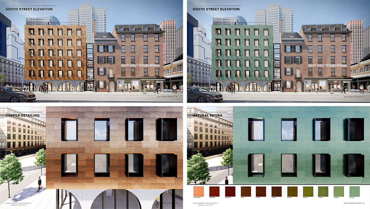 Rendering of the new South Street Seaport museum building illustrates facade patina progression - Skidmore, Owings & Merrill (SOM); Howard Hughes Corporation