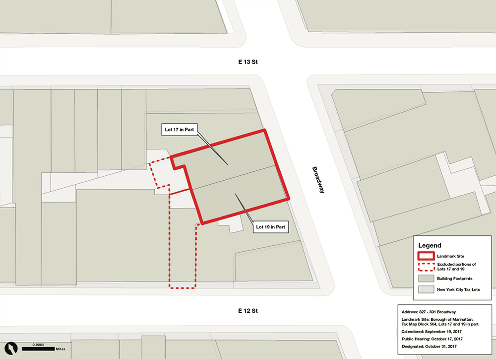 Site map illustrates specific landmark-designated portions of the lot versus the rear portion of the lot that is excluded from the LPC's typical jurisdiction – Sourced from the Landmarks Preservation Commission (10.27.2017) / 827-831 Broadway