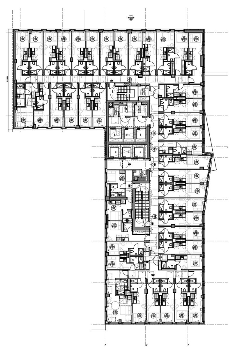 Typical floor plan for short-stay accommodations at 555 Broadway - ODA Architecture