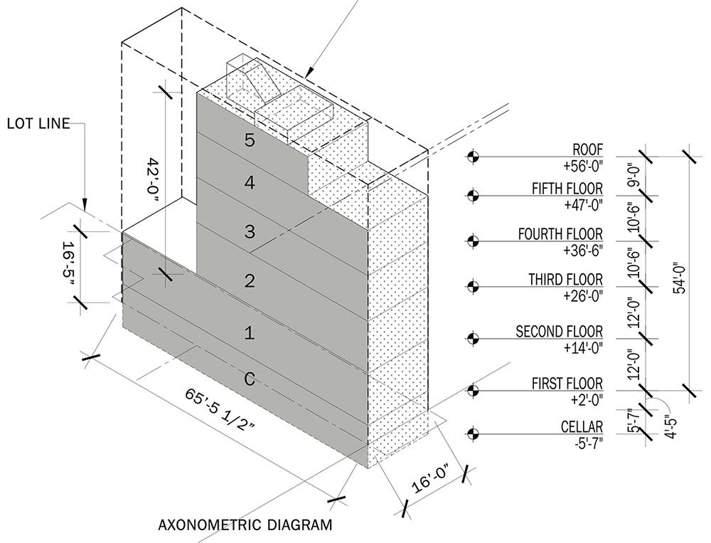 Updated elevation diagram of 110 West 88th Street - DXA Studio