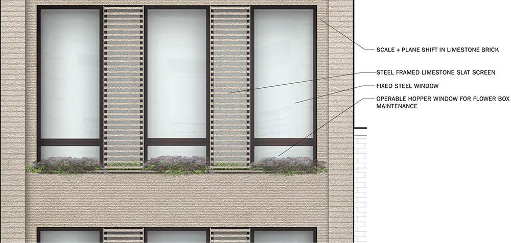 Updated rendering of 110 West 88th Street facade - DXA Studio
