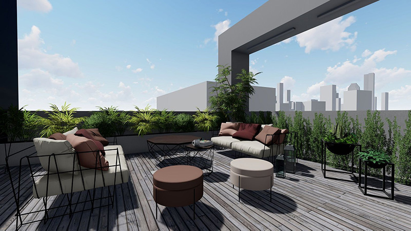 Rendering of terrace areas at 37-24 10th Street - Node Architecture, Engineering, Consulting P.C.