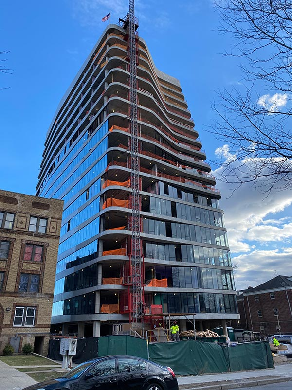 View of construction at Lotus 315 (260 South Harrison Street) - INOA Architecture