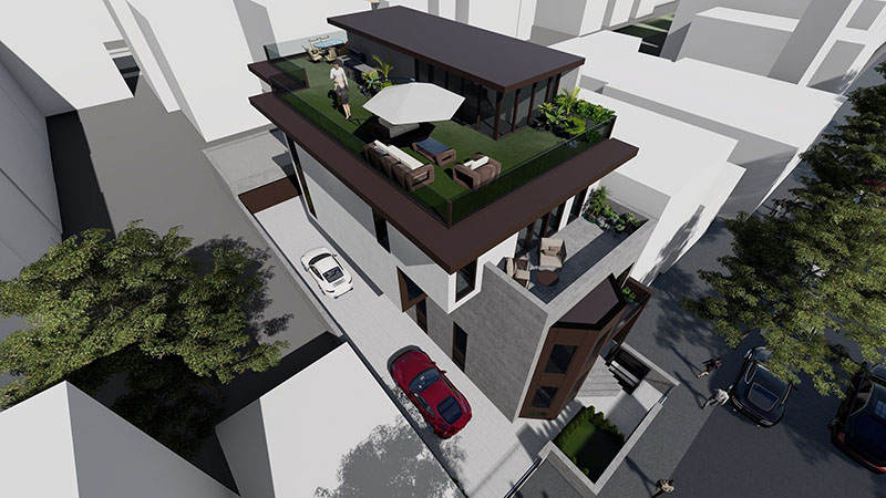Aerial rendering of Shato Residence at 28-50 47th Street - Node Architecture, Engineering, Consulting P.C