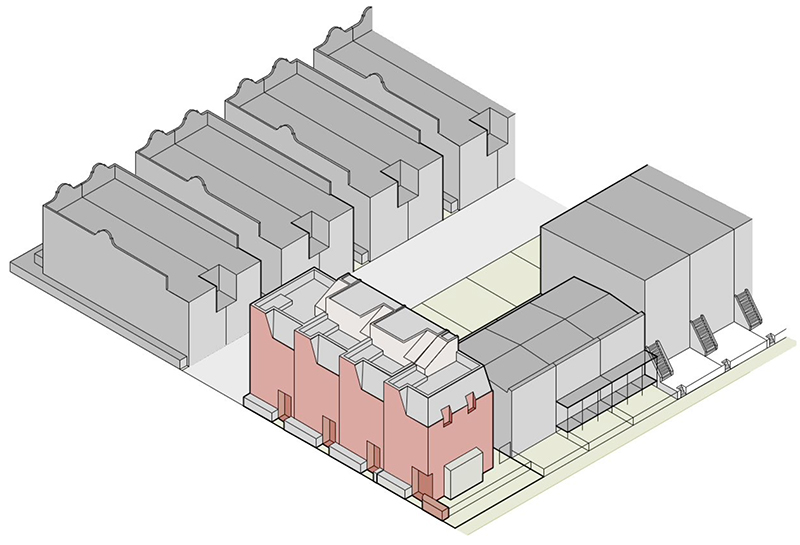 Axonometric rendering of 39 Chauncey Street - NV Design Architecture