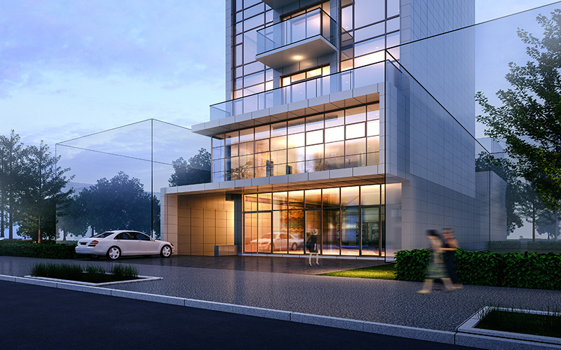 Aerial rendering of 31-21 Linden Place - Focal Point Architects & Associates