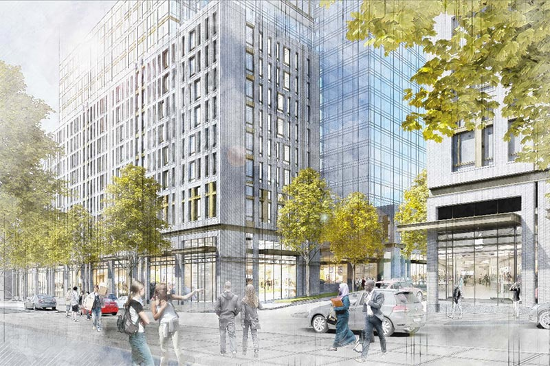 Illustrative pedestrian-level view of the proposed development from the northeast corner of Montgomery Street and Franklin Avenue – Hill West Architects