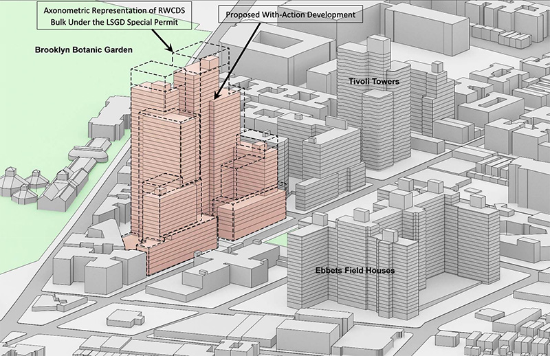 Massing diagram of 960 Franklin Avenue - Hill West Architects