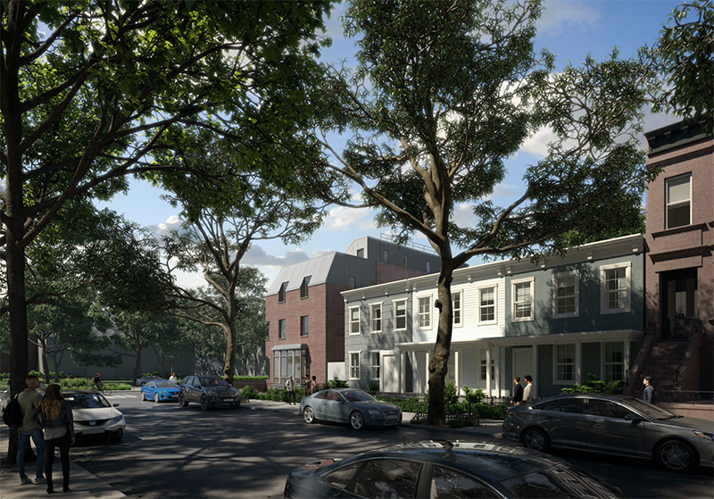 Rendering of 39 Chauncey Street; View from Chauncey Street - NV Design Architecture