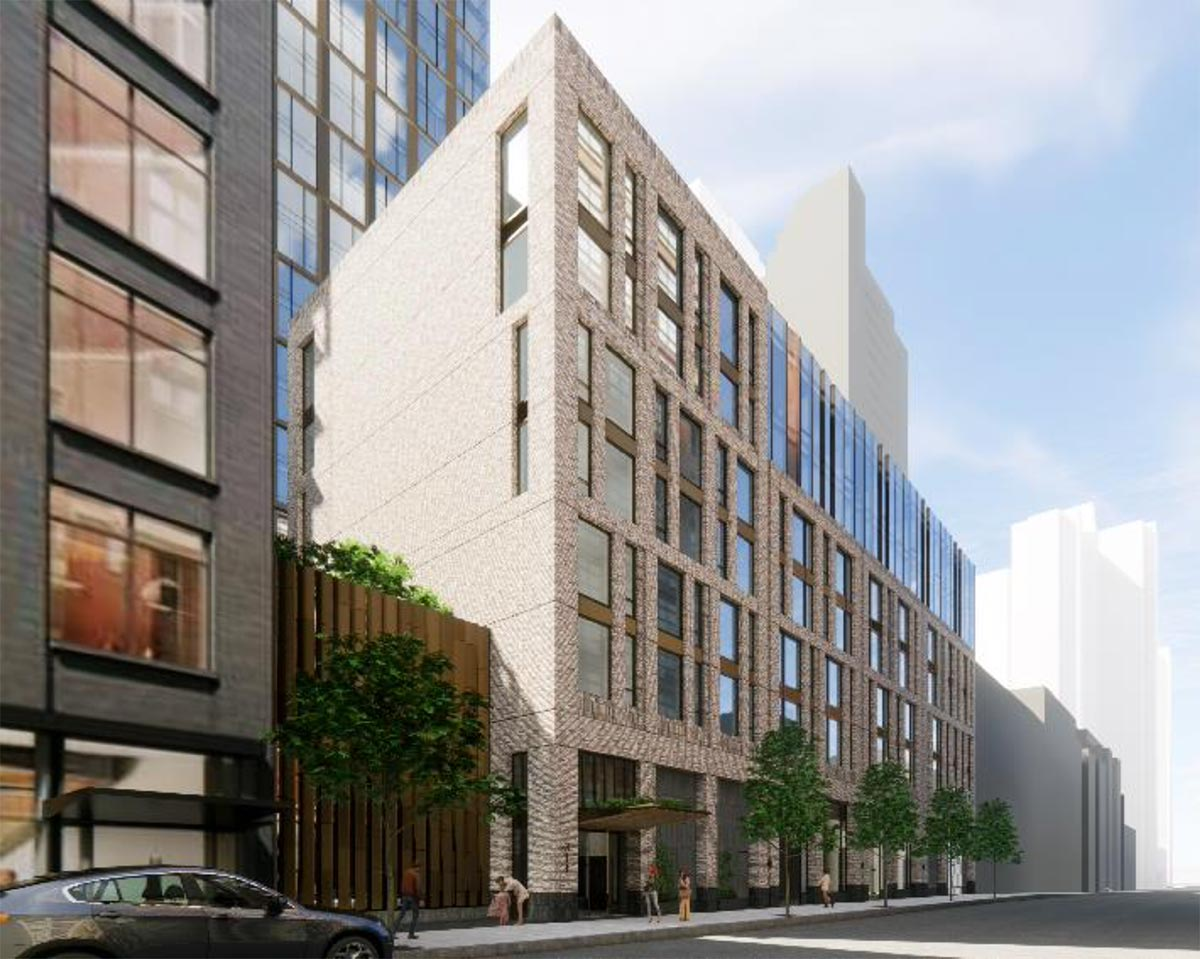 Rendering of 43rd Street Elevation at 314 West 43rd Street