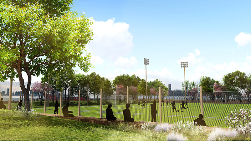 Rendering of Gansevoort Peninsula's public ball field - James Corner Field Operations