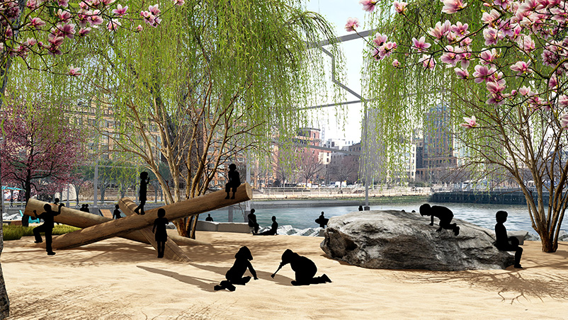 Rendering of Gansevoort Peninsula's public beach - James Corner Field Operations