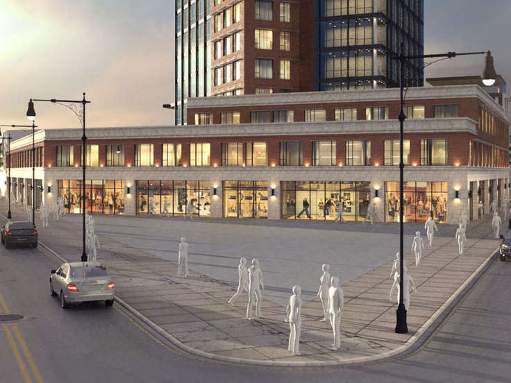 Rendering of Myrtle Point retail podium at 3-50 St. Nicholas Avenue