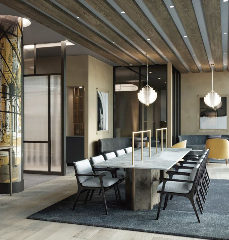 Rendering of communal lounge at 160 Clarkson Avenue - Hill West Architects